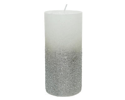 Vánoční svíčka - Válec s glitry 15 cm - stříbrná, Kaemingk