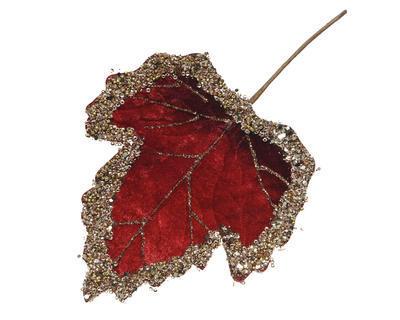 Vánoční umělá květina - List se třpytkami VELVET 19 cm - červená, Kaemingk