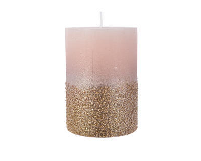 Vánoční svíčka - Válec s glitry 10 cm - růžová, Kaemingk