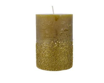 Vánoční svíčka - Válec s glitry 10 cm - zelená, Kaemingk