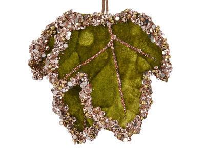 Vánoční umělá květina - Listy se třpytkami VELVET 8x7 cm - zelená, Kaemingk