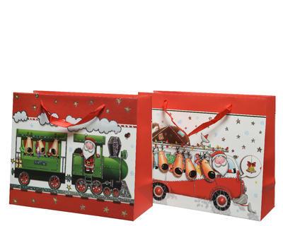 Vánoční taška dárková - XMAS TRAIN/BUS 16x42x48 cm, Kaemingk