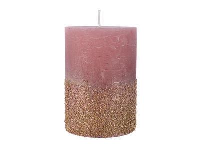 Vánoční svíčka - Válec s glitry 10 cm - samet. růžová, Kaemingk
