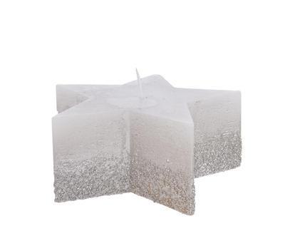 Vánoční svíčka - Hvězda s glitry 12x5cm - stříbrná, Kaemingk
