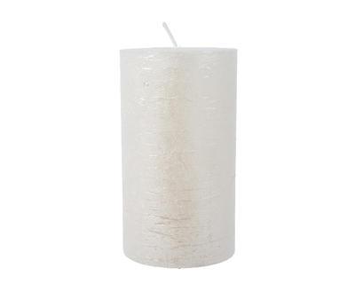 Vánoční svíčka - Válec METALLIC 12 cm - bílá, Kaemingk
