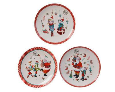 Vánoční talíř - Santa s pomocníky 20 cm, Kaemingk