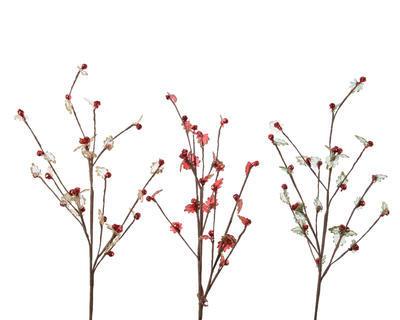 Vánoční umělá květina - Větvička s bobulemi 25x65 cm, Kaemingk