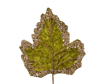 Vánoční umělá květina - List se třpytkami VELVET 19 cm - zelená, Kaemingk