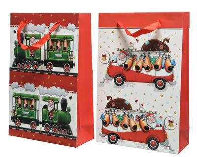 Vánoční taška dárková - XMAS TRAIN/BUS 8x20x30 cm, Kaemingk