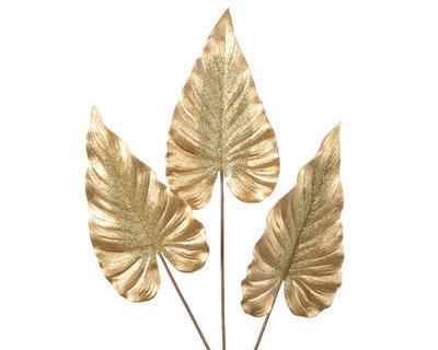 Vánoční umělá květina - List KALA s glitry 76 cm - zlatá, Kaemingk