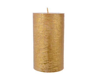 Vánoční svíčka - Válec METALLIC 12 cm - zlatá, Kaemingk
