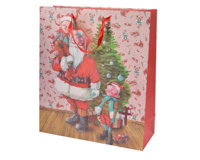 Vánoční taška dárková - SANTA 8x20x30cm, Kaemingk