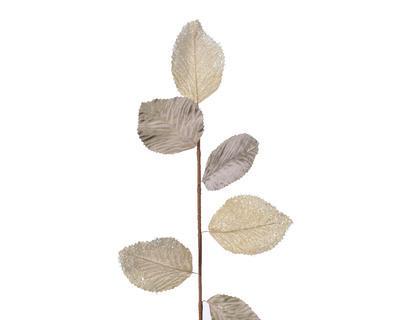 Vánoční umělá květina - Větvička s listy METALLIC 73 cm - sv. zlatá, Kaemingk