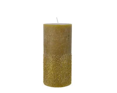 Vánoční svíčka - Válec s glitry 15 cm - zelená, Kaemingk