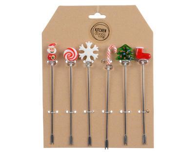 Vánoční set 6 ks  - Napichovátka TAPAS XMAS 12 cm, Kaemingk