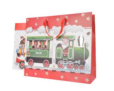 Vánoční taška dárková - XMAS TRAIN/BUS 8x18x24 cm, Kaemingk