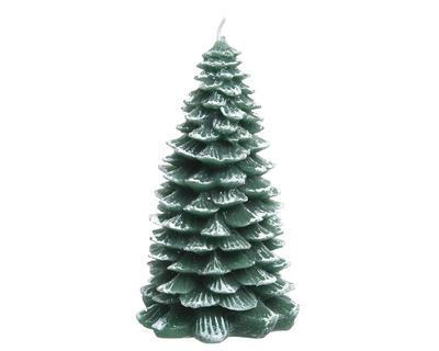 Vánoční svíčka - Stromeček s glitry 12 cm - zelená, Kaemingk