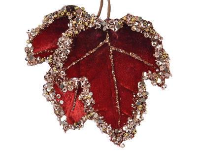 Vánoční umělá květina - Listy se třpytkami VELVET 8x7 cm - červená, Kaemingk