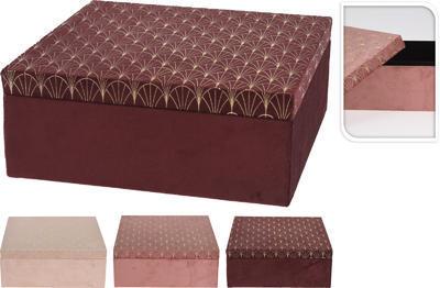 Úložný box s víkem VELVET 24x9cm, 3 assort, Koopman