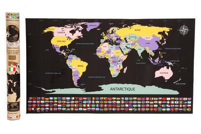 Škrábací mapa světa v dárkovém balení, 80x45cm, Sifcon