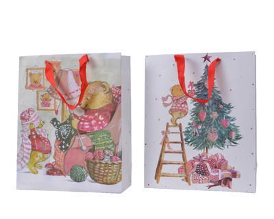 Dárková taška, 16x42x48cm, medvídek plete/ zdobení stromečku, Kaemingk