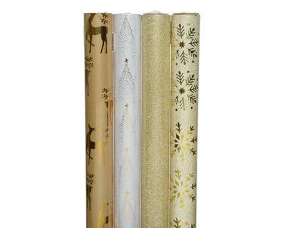 Balící papír DELUXE, 70x150cm, jelen/ stromeček/ zlaté třpytky/ sněhová vločka, Kaemingk
