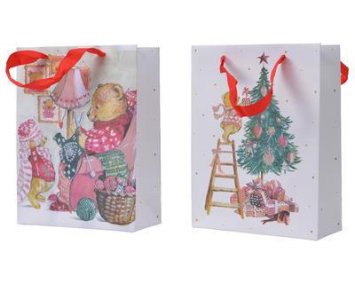 Dárková taška, 8x18x24cm, medvídek plete/ zdobení stromečku, Kaemingk