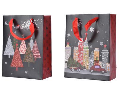 Dárková taška VILLAGE, 18x50x72cm, stromečky/ město, Kaemingk