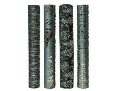 Dekorační látka, 35x200cm, pruhy/ listy/ stromečky/ print, Kaemingk