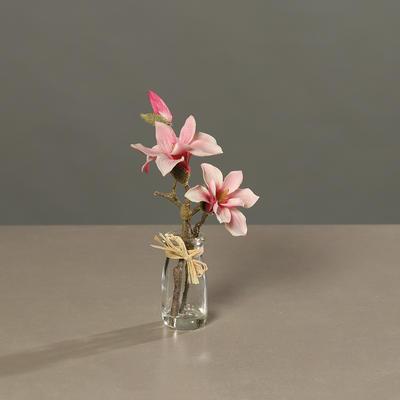 Květina ve skle MAGNOLIE 23 cm - růžová, DPI