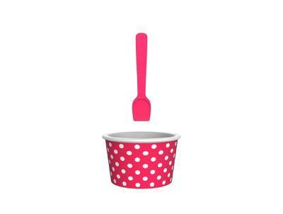 Kalíšek se lžičkou na zmrzlinu DOTTY DOTTY 8 cm - berry/bílá, Zak!