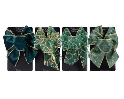 """Vánoční dekorace - Mašle """"ornament"""" zelená 11x15 cm - 4 druhy, Kaemingk"""