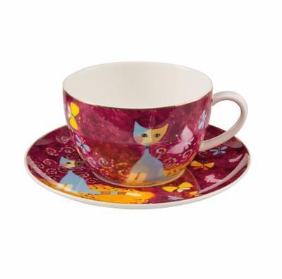 Šálek a podšálek na čaj/cappuccino ROSINA`S CATS - Sogno di farfalle - 500 ml, Goebel