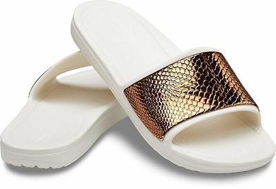 Pantofle SLOANE METALTEXT SLIDE W10 bronze/oyster, Crocs