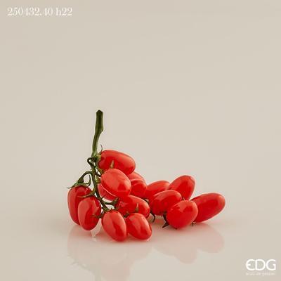 Dekorace - zelenina RAJČATA TŘEŠŇOVÁ 22 cm - červená, EDG