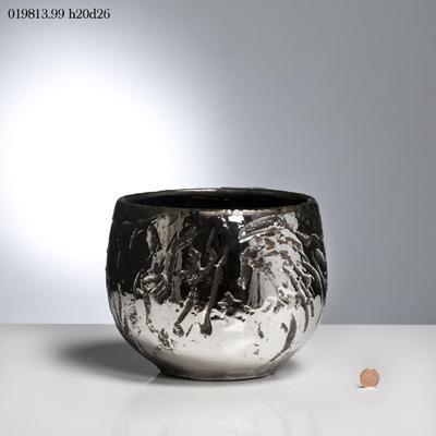 Váza CHAKRA C/CREPE 20 cm - tm. šedá, EDG