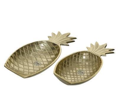 SET servírovacích misek ANANAS, 30x15x5cm, 25x13x4cm, zlaté, Kaemingk