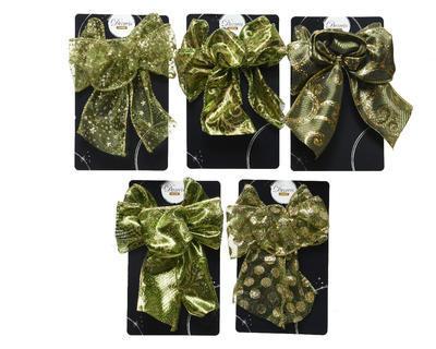 Vánoční dekorace - Mašle ORNAMENT zelená 11x15 cm - 5 druhů, Kaemingk