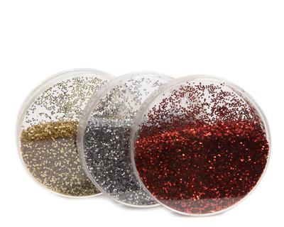Vánoční dekorace - Krabička se třpytkami 6 cm - červená/zlatá/stříbrná, Kaemingk