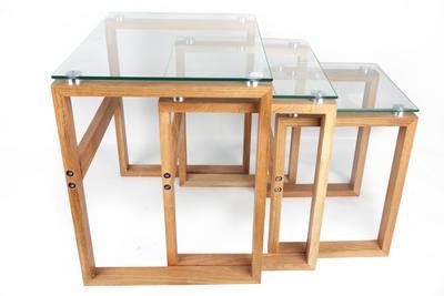 Set 3 ks - Stolky odkládací GLASS TOP & OAK LEG, Sifcon