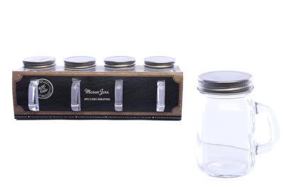 Set - 4ks sklenice s víčkem MASON 30x8 cm, Sifcon