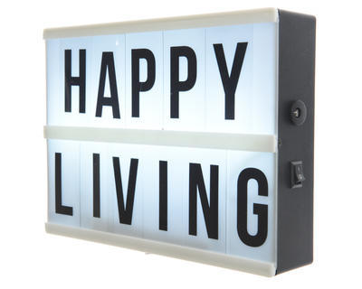 """Tabule světelná LED bílá """"HAPPY LIVING"""" 21x15 cm, Kaemingk"""