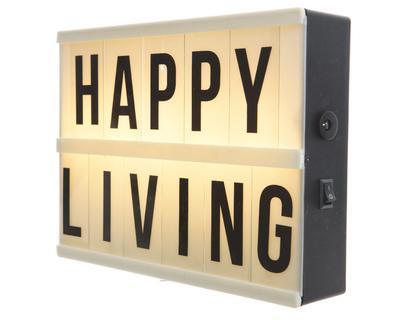 """Tabule světelná LED žlutá """"HAPPY LIVING"""" 21x15 cm, Kaemingk"""