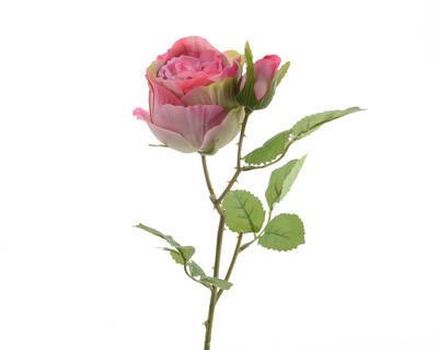 Květina RŮŽE S POUPĚTEM 40 cm - růžová, Kaemingk