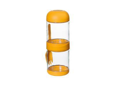 Box svačinový s vidličkou TO GO 2x330 ml - žlutý, Cilio
