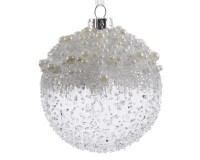 Vánoční ozdoby 3 ks - Koule ICE PEARLS  8 cm - transparentní, Kaemingk
