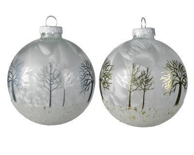 Vánoční ozdoba STROMĚČKY, 8cm, stříbrná/šampaň, Kaemingk