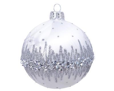 Vánoční ozdoba se třpytkami, 8cm, bílá, Kaemingk
