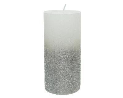 Svíčka s glittery, 15cm, stříbrná, Kaemingk
