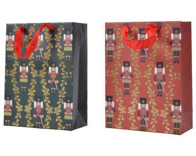 Dárková taška LOUSKÁČEK, 8x18x24cm, zelená/ červená, Kaemingk